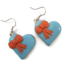 Blue and Coral Heart Earrings with Bows by KireinaJewellery