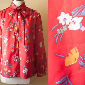 Vintage 80s Red Floral Print Secretary Blouse Pussy Bow Kitten Bow Ascot Neck Tie Retro Blouse 80s Blouse Button Down Shirt Scarf Print Top