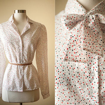Vintage 80s Polka Dot Secretary Blouse | Pussy Bow Kitten Bow Ascot Neck Tie | Retro Blouse Slouchy Top 80s Top 80s Blouse Button Down Shirt