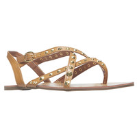 Cone-Studded Cross Strap Sandals | Wet Seal