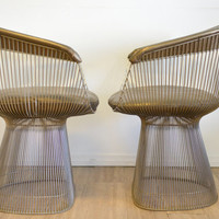 Pair of Vintage Warren Platner Side Chairs with original Bronze Leather covers