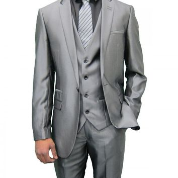 Mens Shiny Grey designer Three Piece Suit with Black trim (Robson)