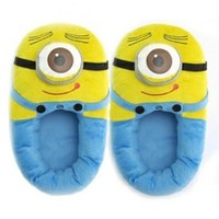 Despicable Me 3D Eyes Minion Stewart Soft Plush Doll Adult Plush Slippers