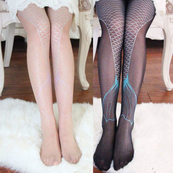 Women Transparent Sexy Sparkling Mermaid Tail Printing Tights Pantyhose Legging