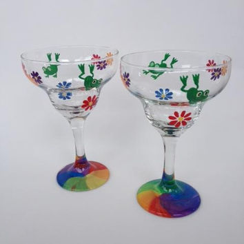 Flower and Frog Margarita hand painted glass