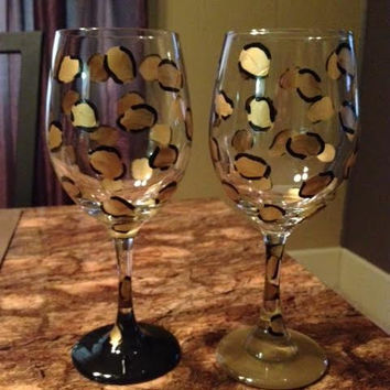 Handpainted Cheetah Animal Print Wine Glass