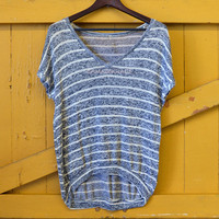 Pescadero Charcoal Striped V-Neck Top