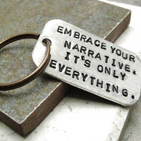 Custom Quote Key Chain Embrace Your Narrative by riskybeads