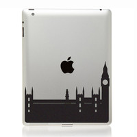 London Skyline Velvet Decal - City Skyline Silhouette  iPad Decal - Laptop Sticker