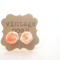 Peachy Soft Coral Rosette Earrings Summer by VintageOoakDesigns