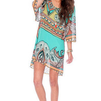 Color Me Paisley Dress in Mint :: tobi
