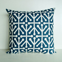 Pillow Cover Navy Blue Aruba Throw Decorative 20x20 Cotton