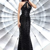 Sparkle 71283 - Black Sequin Halter Open Back Prom Dresses Online