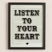 """Listen to Your Heart"" Print on Glass - World Market"