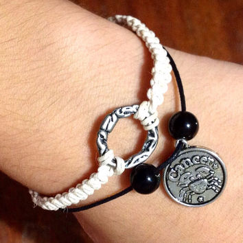 Cancer white zodiac sign charm bracelet FREE SHIPPING