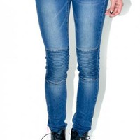 Blue denim motorcycle skinny jeans