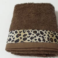 Brown Bathroom Towel  Kitchen Hand Towel Cheetah Ribbon Trim
