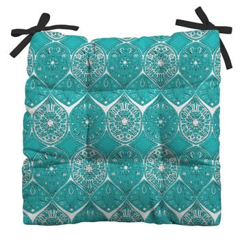 Sharon Turner Saffreya Turquoise Outdoor Seat Cushion
