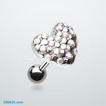 Fluffy Heart Multi-Gem Cartilage Earring