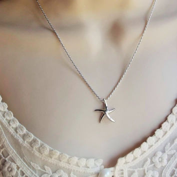 sterling silver starfish necklace / sea star necklace  925 rope chain /  925 starfish  / silver starfish necklace   sterling silver necklace