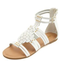 Basket-Weave Studded Gladiator Sandals