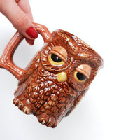 Retro Owl Mug  Brown Sleepy Bird Cup / Coffee by MaejeanVINTAGE