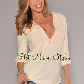 Cream Gold Zipper Accent Blouse