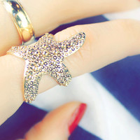 Starfish ring Gold Starfish Ring  Mermaid Ring  Ocean Ring Beach Jewelry Boho Wedding  Bridesmaids Gifts Statement Ring Cocktail Ring