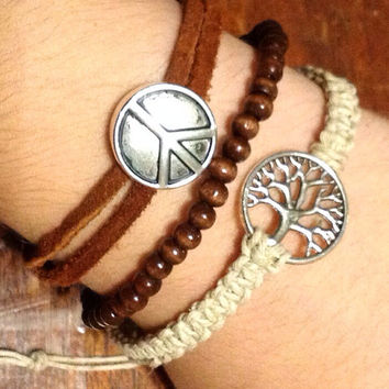 Tree of life peace leather and hemp bracelet set FREE SHIPPING