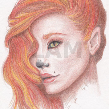 SALE - Fox Girl - Coloured pencil drawing - digital download
