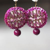 Abstract Embroidery Earrings -  Orchid Sequins - Amethyst wooden beads