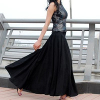 Black skirt   women long skirts  high waisted linen skirt made of soft linen (MM67)
