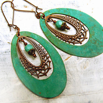 Patina Big Hoop earrings bohemian earrings by Gypsymoondesigns
