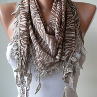 Light Brown and Leopard Scarf with Trim Edge by SwedishShop