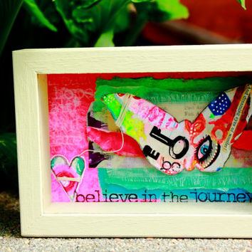 Title: Believe in The Journey - Painted Wooden Box containing Mixed Media art.