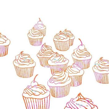 Cupcakes Illustration Art Print - Pink Frosting