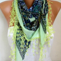 ON SALE - Neon Green Scarf Pistachio Scarf Spring Summer Scarf - Cotton Scarf - Necklace Cowl Gift Ideas For Her Women Fashion Accessories