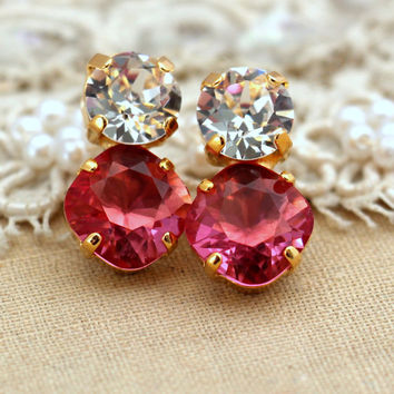 Pink white crystal stud earrings,Swarovski earrings bridesmaids earrings - 14 k Gold plated stud earrings real swarovski rhinestones.