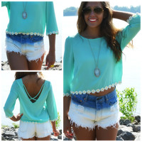 Field Day Mint Criss Cross Daisy Top