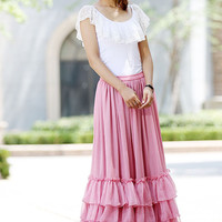 pink skirt   women long skirt   full skirt   tiered skirt  with elastic waist  (1019)
