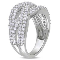 Lab-Created White Sapphire Woven Ring in Sterling Silver - View All Rings - Zales