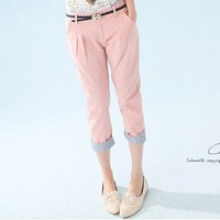 Simple Design Vertical Stripes Fold Master Pants Pink-Wholesale Women Fashion From Icanfashion.com