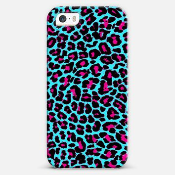 Turquoise Fuchsia Pop Leopard iPhone 5s case by Organic Saturation | Casetify