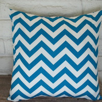 The Crystal - 18 X 18 Pillow Cover - Zig Zag In Deep Turquoise/Blue And White | Luulla