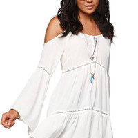 Kendall & Kylie Cold Shoulder Tunic - Womens Shirts - White -