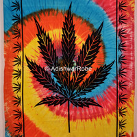 Tie-Dye Rainbow Indian Tree  Hippie Hippy Wall Hanging Tapestry Throw  Twin Bedspread Bed Decor Sheet Ethnic Decorative Art