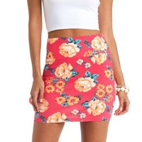 FLORAL PRINT BODYCON MINI SKIRT