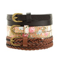 BRAIDED, FLORAL & SOLID SKINNY BELTS - 3 PACK