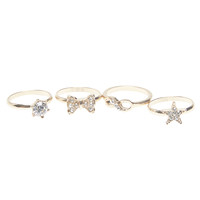 Rhinestone Infinity Star Bow Midi Ring Set | Wet Seal
