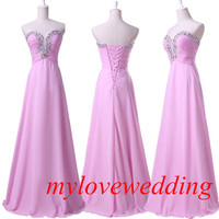 2014 Pink Beadwork Chiffon Long Formal Bridesmaid Dresses Prom Dresses Evening Dresses Party Dresses Plus Size
